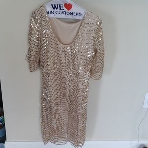 Size S gold sequin scoop neck dress